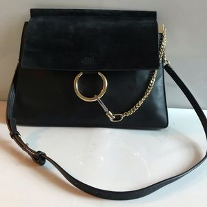 Chloe Authentic large Faye Black Bag can be Worn 4